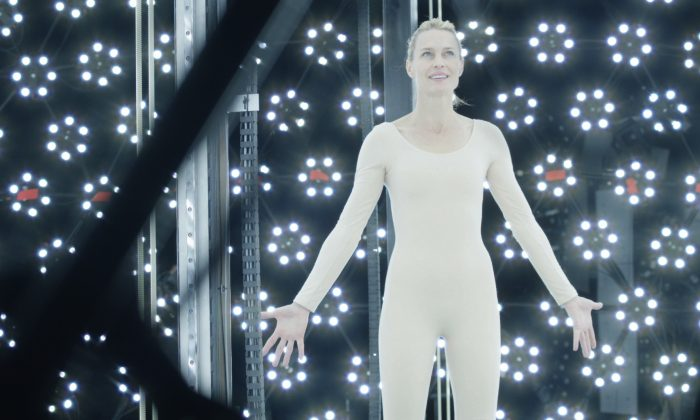 "This photo released by courtesy of Drafthouse Films shows Robin Wright (playing a version of herself) projecting happiness within the machine scanning her likeness in Drafthouse Films' sci-fi epic, ""The Congress."" (AP Photo/Drafthouse Films)"