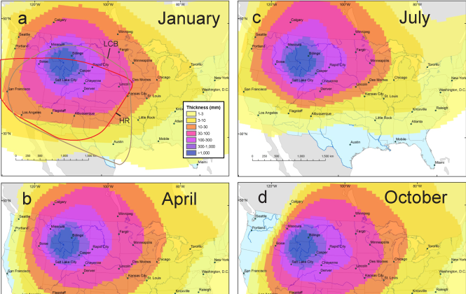 Yellowstone Volcano Eruption: New Map Models Show Ash From ... on high resolution yellowstone map, nps yellowstone map, yellowstone national park wy to farmington new mexico map, yellowstone national park topo map, yellowstone np map,