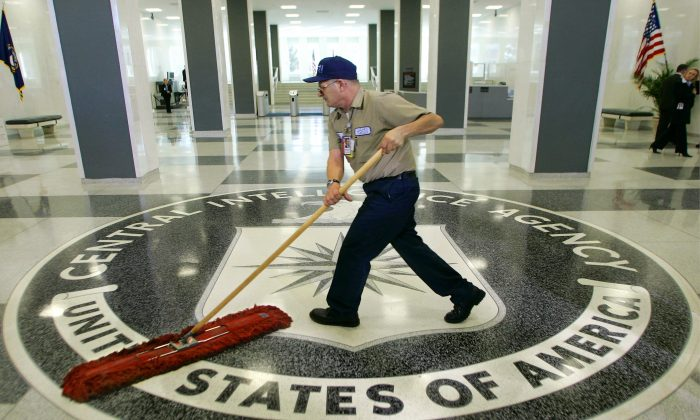 A workman at the Central Intelligence Agency headquarters in Langley, Va., on March 3, 2005. (J. Scott Applewhite/AP)