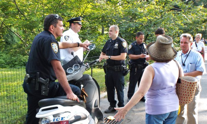 NYPD in Central Park on July 25 (Vincent J. Bove)