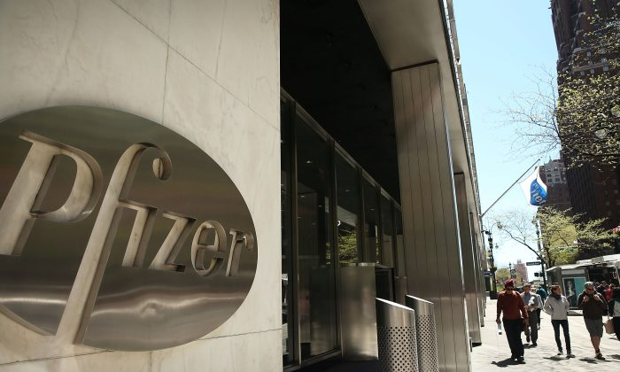 World headquarters of Pfizer Inc. in Manhattan on May 5.  (Spencer Platt/Getty Images)