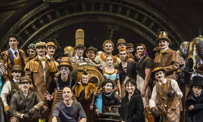 "Writer/director Michel Laprise (L) with director of creation Chantal Tremblay and the cast of Cirque du Soleil's ""Kurios: Cabinet of Curiosities."" (Martin Girard shootstudio.ca)"