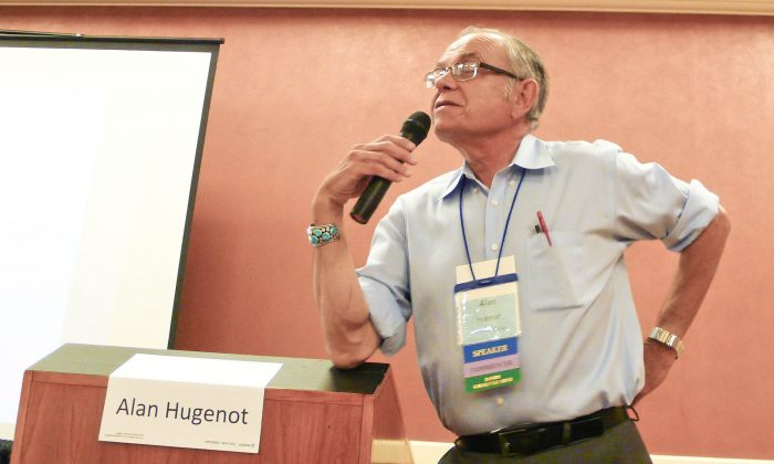 Dr. Alan Hugenot discusses the science of the afterlife at the IANDS 2014 Conference in Newport Beach, Calif., on Aug. 29, 2014. (Tara MacIsaac/Epoch Times)