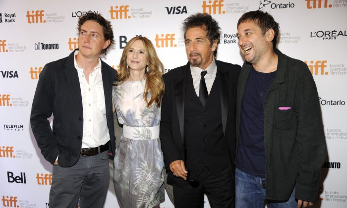 "David Gordon Green, and from left, Holly Hunter, Al Pacino and Harmony Korine arrive at the premiere of ""Manglehorn"" on day 3 of the Toronto International Film Festival at the Winter Garden Theatre on Saturday, Sept. 6, 2014, in Toronto. (Photo by Chris Pizzello/Invision/AP)"