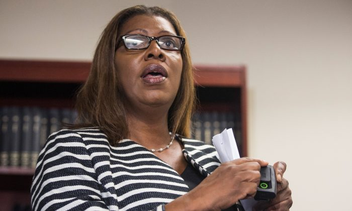 New York City Public Advocate Letitia James at a press conference in New York City on August 21, 2014. (Andrew Burton/Getty Images)