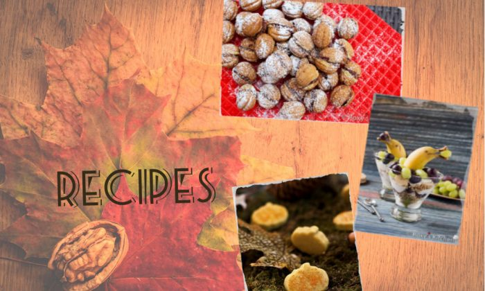Image of filled walnut cookies (top right), banana and grape parafait (right)(Roxy's Kitchen), pumpkin patties (bottom right) (Bittersweet), and fall background via Shutterstock*)