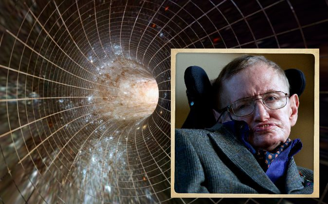 Right: Stephen Hawking (Andrew Cowie/AFP/Getty Images) Left: Concept illustration of time and space. (Shutterstock*)