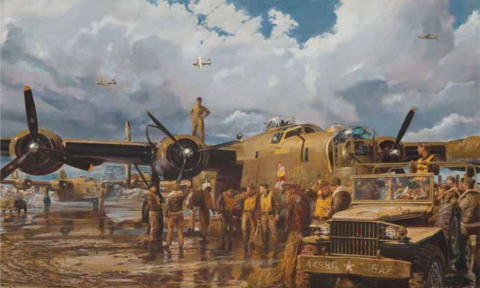 """""""Maximum Effort,"""" 1994, by James Dietz, part of the Air Force Art exhibit at the Society of Illustrators. (Courtesy of the Society of Illustrators)"""