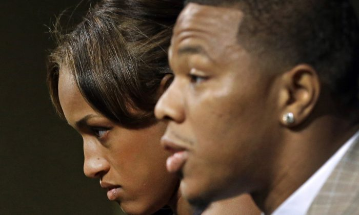 Janay Rice (L) and her husband, Baltimore Ravens running back Ray Rice, speak to the media during a news conference in Owings Mills, Md., on May 2, 2014. (AP Photo/Patrick Semansky)