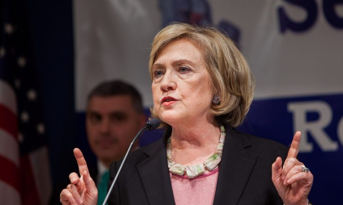 Former Secretary of State Hillary Rodham Clinton speaks at the 13th Anniversary Commemoration of 9/11 to Benefit 911 Health Watch, Inc. in the United Federation of Teachers headquarters Downtown Manhattan, New York, Sept. 16, 2014. (Petr Svab/Epoch Times)