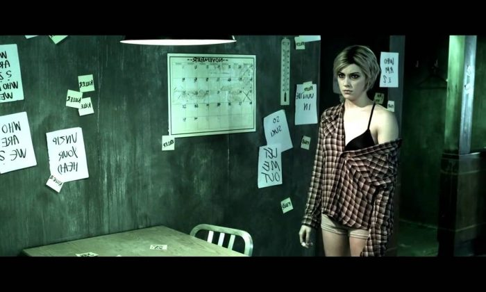 "Katie Cassidy as a woman with a multiple-personality disorder in ""The Scribbler."" (Screenshot from YouTube/XLrator)"