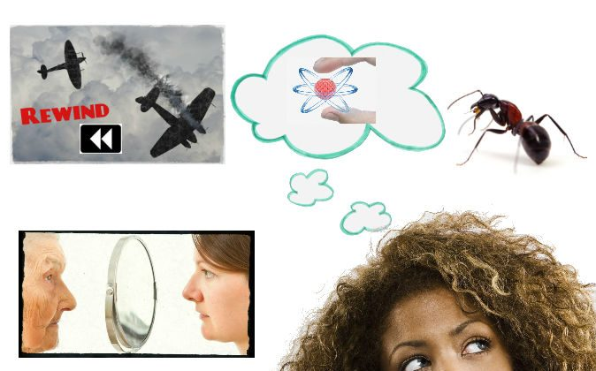 What would it look like to rewind WWII? How would beings of higher intelligence view us? Bottom right: Woman thinking (Fuse/Thinkstock); Top right: Ant (Eye Blink/iStock/Thinkstock); Top left: Artist's concept of WWII planes (Shutterstock); Bottom left: Woman looking at her younger self through a mirror (Shutterstock)
