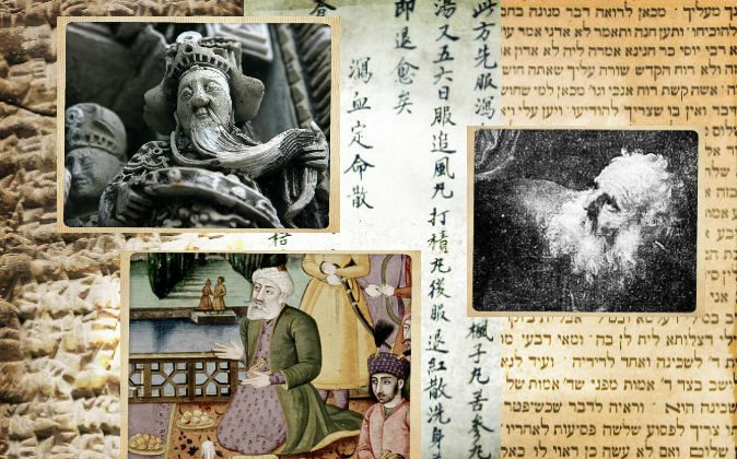 """Top left: A carving on a Taoist temple; Taoist masters throughout history are said to have lived hundreds of years. (Shutterstock*) Bottom left: An illustration from """"Shahnama,"""" a 10th century Persian poem listing lifespans for kings of hundreds of years and even over 1,000. (Wikimedia Commons) Right: A painting of the biblical figure, Abraham, by Rembrandt; Abraham is said to have far outlived the lifespan expected in modern humans. (Wikimedia Commons) Background: (L-R) An ancient Sumerian tablet (Wikimedia Commons), an ancient Chinese medical text (Defun/iStock/Thinkstock), and Hebrew writing (Shutterstock*)"""