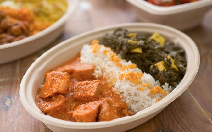 Chicken Tikka Masala, Saag Paneer, served with rice. (Courtesy of Baluchi's Fresh)