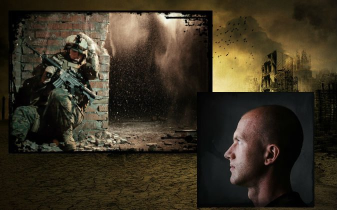 File images of a soldier in war and a man gazing. (Shutterstock*) Background: An illustration of a war-torn area. (JM Gehrke/iStock/Thinkstock)