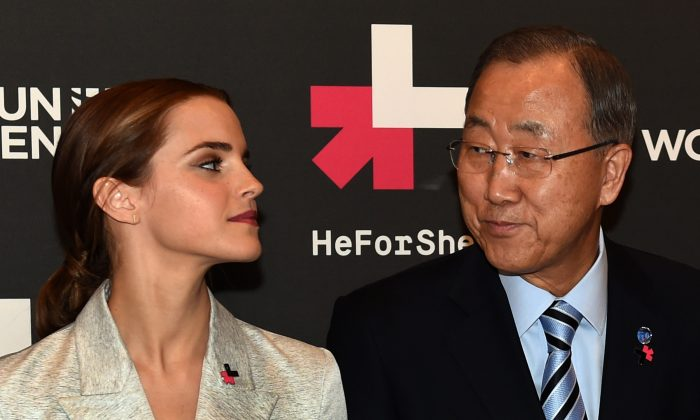 UN Women Goodwill Ambassador Emma Watson (L) and United Nations Secretary General Ban Ki-moon pose for a photo September 20, 2014 at the United Nations in New York. The two were on hand to the Launch of the HeForShe Campaign. (AFP/Getty Images)