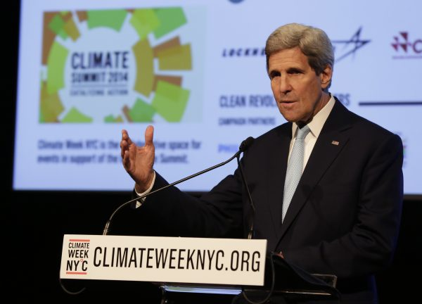US Secretary of State John Kerry delivers remarks at a NYC Climate Week opening event, at the Morgan Library in New York, Monday, Sept. 22, 2014. (AP Photo/Richard Drew)