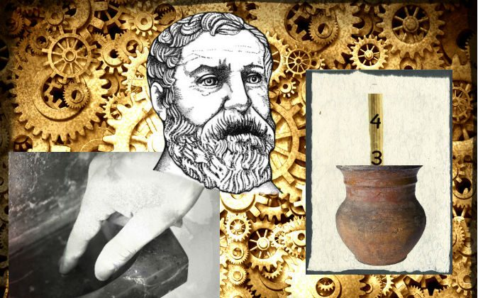 Left: A file photo of holy water. (Shutterstock*) Top: Heron, a.k.a Hero of Alexandria (Wikimedia Commons) Right: An illustration of an ancient Greek beacon device (image of jar by Didecs/iStock/Thinkstock) Background: Cogs (Shutterstock*; effects added by Epoch Times)