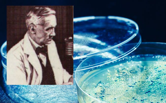 Alexander Fleming, who discovered penicillin. (Wikimedia Commons; background image of a petri dish with mold via Shutterstock)