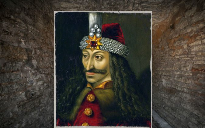 A 16th century painting of Vlad Tepes, known today as Dracula. (Wikimedia commons) Background: A file photo of a dungeon (Evgeny Sergeev/iStock/Thinkstock)