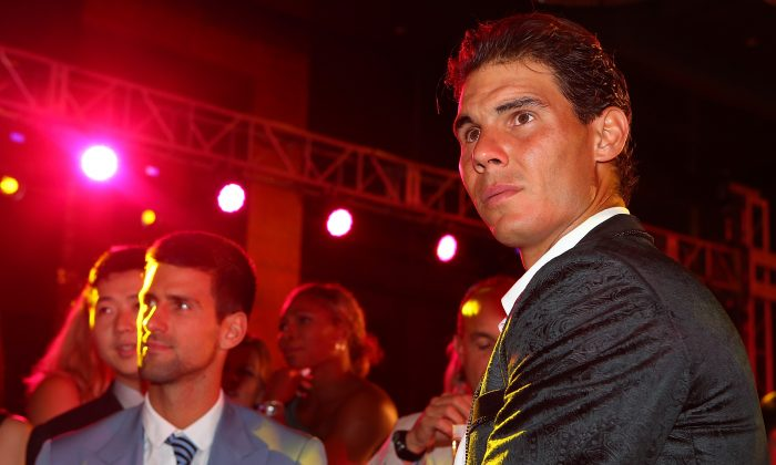 BEIJING, CHINA - SEPTEMBER 29: Novak Djokovic of Serbia and Rafael Nadal of Spain attend the China Open Player Party at the InterContinental hotel on September 29, 2014 in Beijing, China. (Chris Hyde/Getty Images)