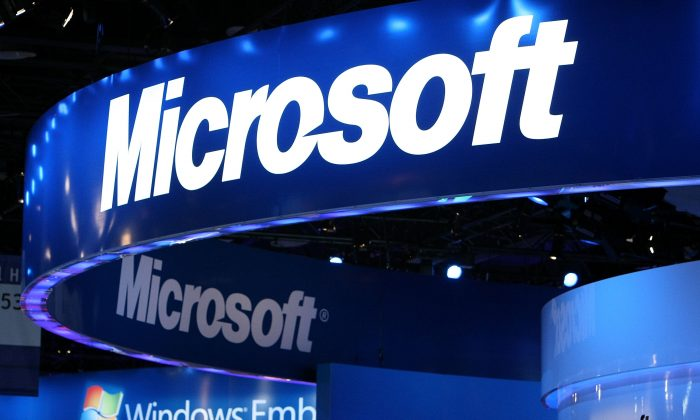 The Microsoft logo is displayed over the Microsoft booth at the 2010 International Consumer Electronics Show at the Las Vegas Hilton Jan. 7, 2010 in Las Vegas, Nevada. (Justin Sullivan/Getty Images)