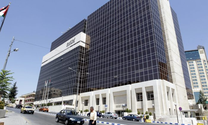 The Arab Bank's main offices in the Jordanian capital, Amman, on August 16. (KHALIL MAZRAAWI/AFP/Getty Images)