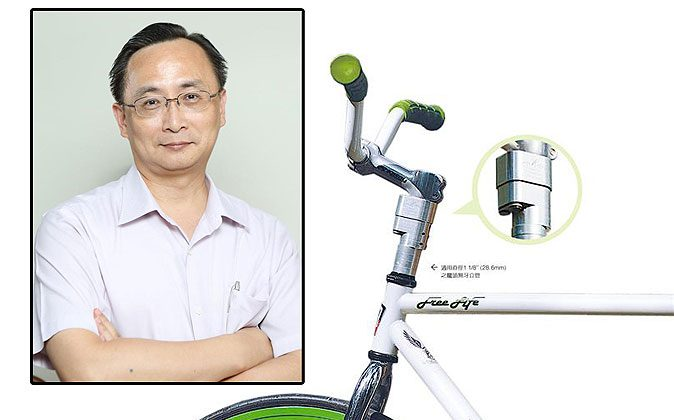 """Top right: Extraordinary Microscience President Kuo Min-Huang. (Lin Shijie) Background: The Gripfast stem shock absorber designed for threadless stems with diameter of 1.18"""" (28.6mm) (Extraordinary Microscience)"""