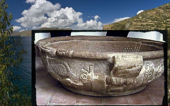 Fuenta Magna (Courtesy of Bernardo Biados's Research Team) Background: Lake Titicaca in Boliva (Shutterstock*)