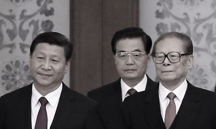 (L to R) Chinese Communist Party Head Xi Jinping and his predecessors Hu Jintao and Jiang Zemin are seen in Beijing, China, on Sept. 30, 2014. (Feng Li/Getty Images)