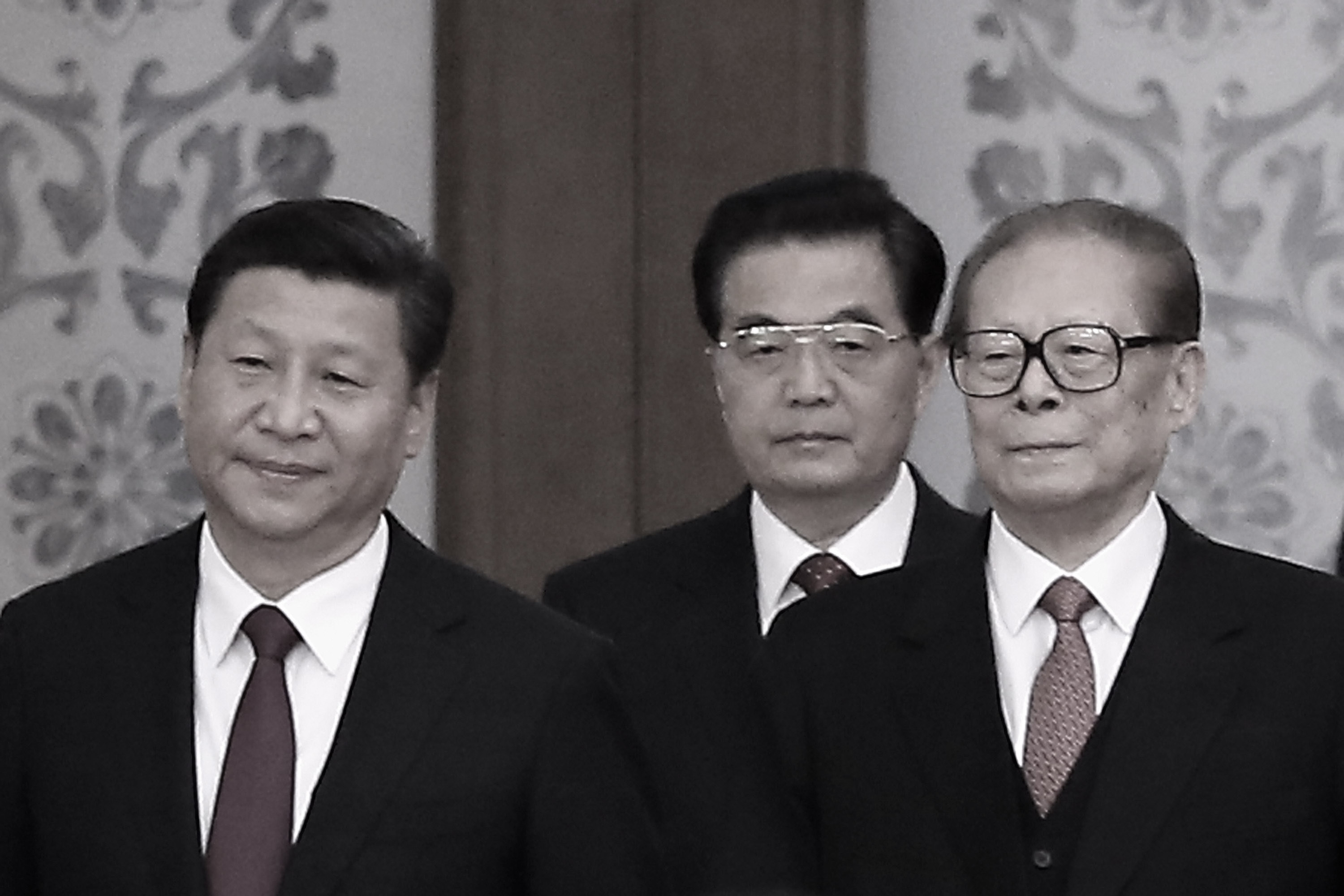 (L to R) Chinese Communist Party Head Xi Jinping and his predecessors Hu Jintao and Jiang Zemin on Sept. 30, 2014 in Beijing, China. Since taking power in November 2012, Xi has worked to dismantle the faction headed by Jiang Zemin. (Feng Li/Getty Images)