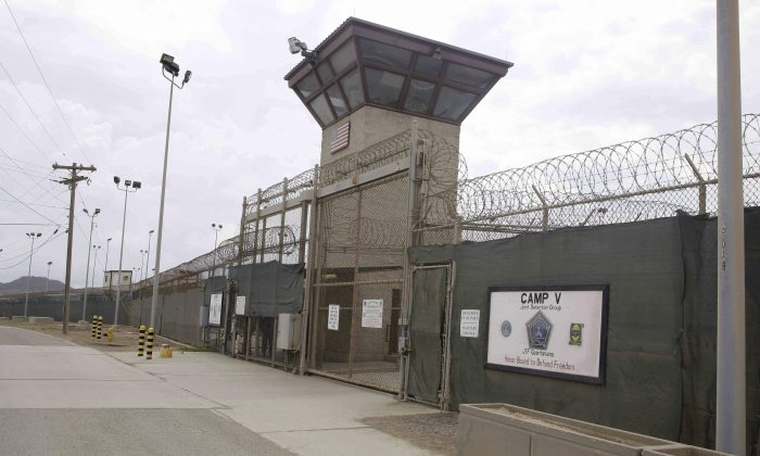 The entrance to Camp 5 and Camp 6 at the US military's Guantanamo Bay detention center at Guantanamo Bay Naval Base, Cuba, on June 7, 2014. (AP Photo/Ben Fox)