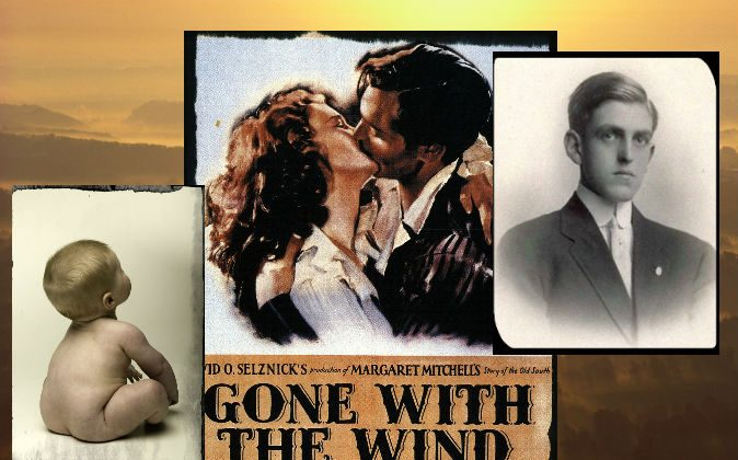 """Right: Playwright and screenwriter Sidney Coe Howard (1891–1939), writer of """"Gone With the Wind."""" (Wikimedia Commons) Center: Film poster for """"Gone With the Wind."""" (Wikimedia Commons) Left: A file photo of a baby. (Photodisc/Photodisc/Thinkstock) Background: (Craig Aurness/Fuse/Thinkstock)"""
