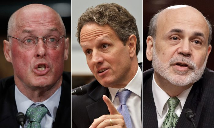 (L-R) Former Treasury Secretary Henry Paulson, former Treasury Secretary Timothy Geithner, and former Federal Reserve Chairman Ben Bernanke. The three top former government leaders who devised the 2008 financial bailouts are set to testify this week in a lawsuit over the government's rescue of the insurance giant AIG. (AP Photo/Pablo Martinez Monsivais, J. Scott Applewhite)