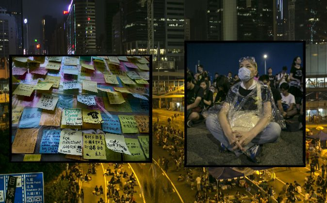 Protesters on a quiet night as the standoff continues in Hong Kong on October 5, 2014. (Paula Bronstein/Getty Images)