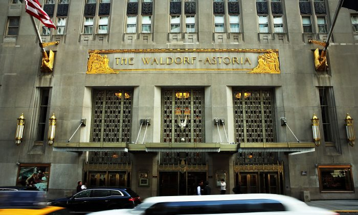 The Waldorf Astoria, the landmark New York hotel, is viewed on October 6, 2014 in New York City. It was announced October 6, that Hilton Worldwide will sell the Waldorf to the Beijing-based Anbang Insurance Group for $1.95 billion. As part of the deal the Waldorf will undergo a major renovation. The Park Avenue hotel opened on October 1, 1931, and claimed to be the biggest hotel in the world at the time, attracting movie stars, politicians and the wealthy. (Spencer Platt/Getty Images)