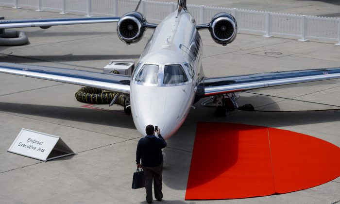 An Embraer executive jet at the European business aviation show EBACE on May 19, 2014. (Fabrice Coffrini/AFP/Getty Images)