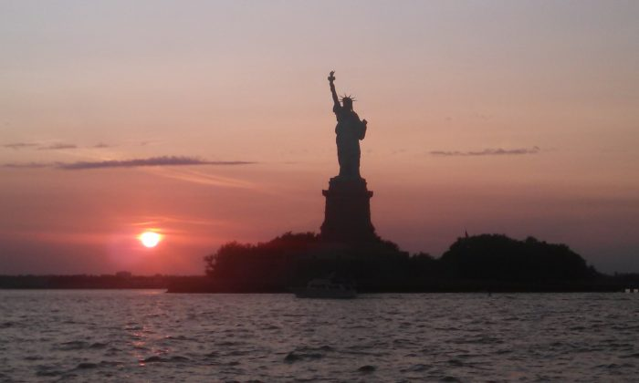 Statue of Liberty taken 2014 at sunset from the AJ Meerwald.