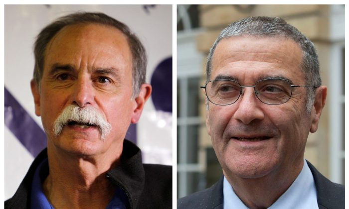 This combination photo shows American physicist David Wineland (L) and French physicist Serge Haroche, winners of the 2012 Nobel Prize in physics. The French-American duo shared the prize for inventing methods to observe the properties of the quantum world, research that has helped scientists take the first steps toward building superfast computers. (AP Photo/Ed Andrieski, Michel Euler)