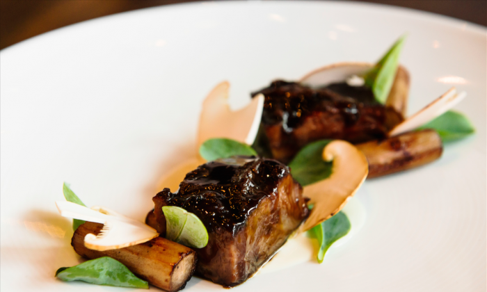 Veal Cheeks With Salsify, Matsutake, and Oyster Emulsion (Courtesy of Urbo Loft)