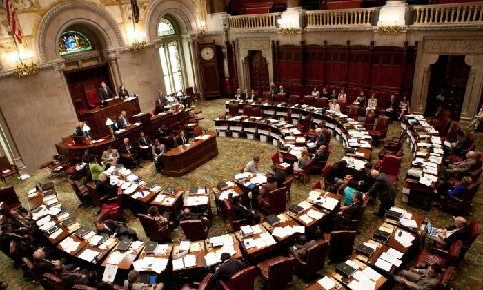 The New York State Senate in a June 16, 2011, file photo. (Matthew Cavanaugh/Getty Images)