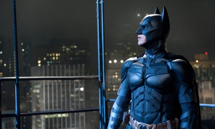"Christian Bale portrays Batman in a scene from ""The Dark Knight Rises."" (AP Photo/Warner Bros.)"