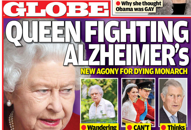 Queen Elizabeth's health is quickly declining as she shows early stages of Alzheimer's disease, according to Globe Magazine's October 20 edition.