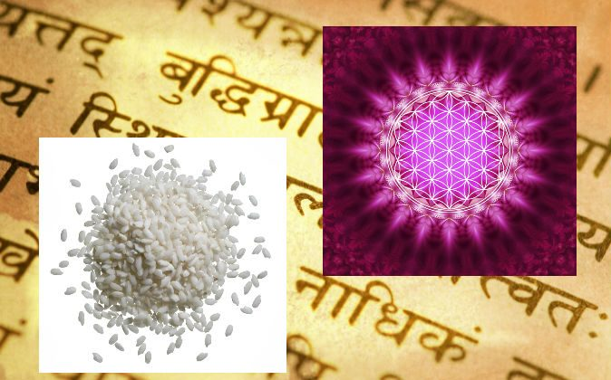 "A file photo of a Sanskrit text (Maxim Krasnov/Hemera/Thinkstock, effects added by Epoch Times); Rice (Shutterstock*); Conceptual image of the ""flower of life"" (Tschitscherin/iStock/Thinkstock)"