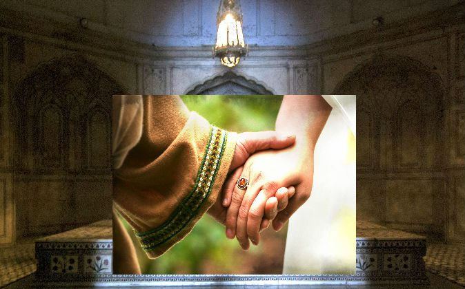 Conceptual image of medieval lovers holding hands (Kanwarjit Singh Boparai/iStock/Thinkstock) Background: File photo of a medieval tomb (Commoner28th/iStock/Thinkstock)