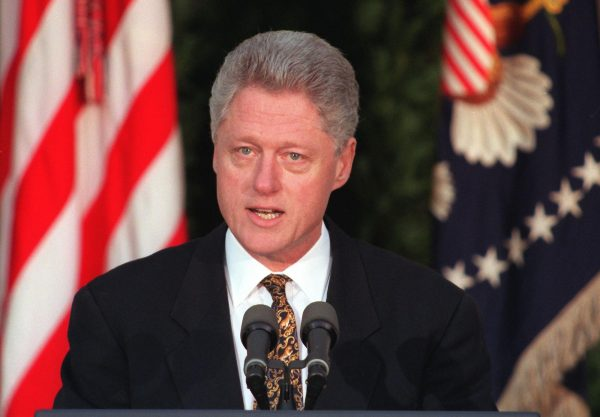 US President Bill Clinton addresses the nation from the Rose Garden of the White House in Washington on Dec. 11, 1998, to apologize for misleading the country about his relationship with White House intern Monica Lewinsky. (William Philpott/AFP/Getty Images)