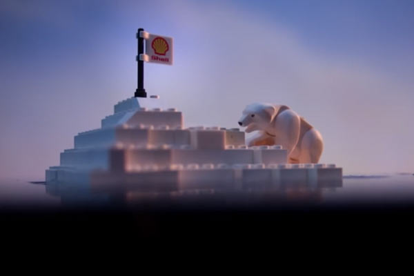Still from Greenpeace viral video attacking Lego for partnering with Shell.