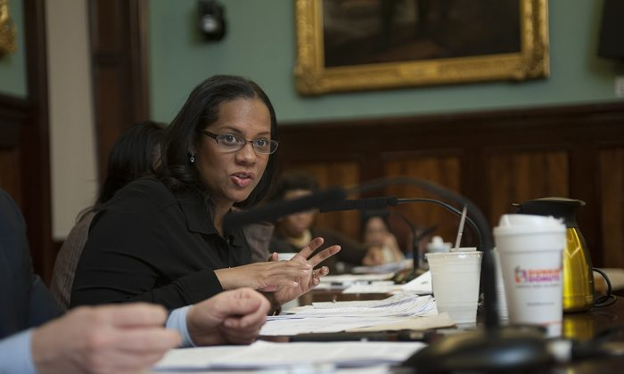 Council member Julissa Ferreras at City Hall, Feb. 5, 2014. (William Alatriste)