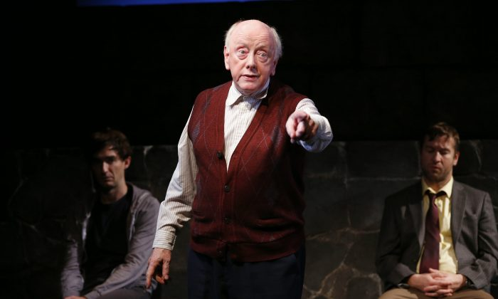 """(L–R) James Russell, Peter Maloney, and Billy Carter appear in a scene from Conor McPherson's """"Port Authority,"""" currently performing off-Broadway at the Irish Repertory Theatre's DR2 Theatre. (AP Photo/Coyle Entertainment, Carol Rosegg)"""