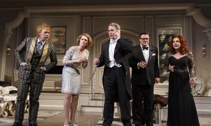 "(L-R) Rupert Grint, Megan Mullally, Matthew Broderick, Nathan Lane, and Stockard Channing appear during a performance of ""It's Only A Play,"" at the Gerald Schoenfeld Theatre. (AP Photo/The O+M Company, Joan Marcus)"